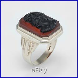 Antique Deco Mens Sardonyx Cameo Warrior Ring Vintage 14k White Gold Vintage
