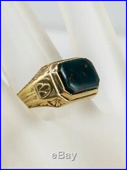 Antique Edwardian 1900s 4ct Bloodstone Gem 14k Yellow Gold Band Mens Ring