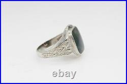 Antique Edwardian 1900s 7ct Natural Bloodstone 10k White Gold Mens Band Ring