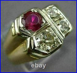 Antique Large 1.02 Old Mine Diamond & Ruby 14kt Two Tone Gold 3d Mens Gypsy Ring