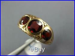 Antique Large 3.20ct Aaa Garnet 14kt Rose Gold 3d 3 Stone Filigree Mens Ring