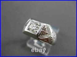 Antique Large. 46ct Old Mine Diamond 14kt White Gold Filigree Mens Ring #23702