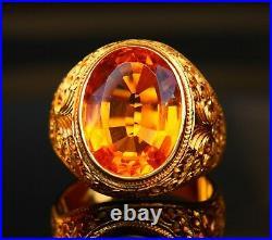 Antique Men Ring 10ct Citrine solid 21K Gold Ø US10.75 / 15.3gr