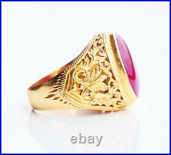 Antique Men Ring 8ct Ruby solid 23K Gold Ø US9 / 10.4 gr