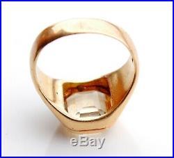 Antique Men Ring solid 18K Gold 5.75 ct Citrine Ø US8.25 / 11.8gr