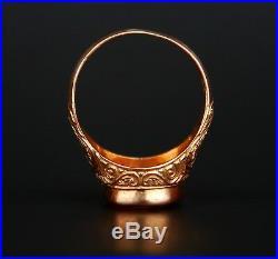 Antique Men Signet Ring solid 18K Gold Banded Red Onyx Ø US12.25 / 11.5gr
