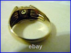 Antique Men's 14k White Gold Solitaire Diamond Art Nouveau/Art Deco Ring Sz 12.5