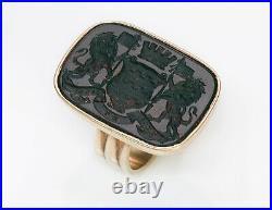 Antique Men's Gold Bloodstone Crest Ring