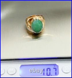 Antique Men's Huge 16Ct Natural Green 19mm Jade 14K Rose Gold Ring 1920s