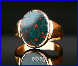 Antique Nordic Men Signet Ring Blood Stone solid 14K Gold Ø8.5 US / 5 gr