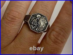 Antique Rare Memento Mori Skulls Solid Silver Black Enamel Victorian Men`s Ring