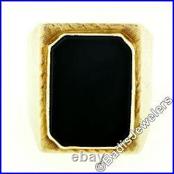 Antique Victorian 14k Gold Large Bold Rectangular Black Onyx Engraved Men's Ring