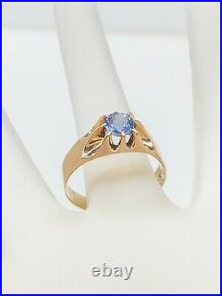 Antique Victorian 1890 $2400 1ct Natural Blue Sapphire 10k Yellow Gold Mens Ring