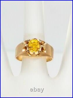 Antique Victorian 1890 $5000 2ct Natural Yellow Sapphire 14k Gold Mens Band Ring