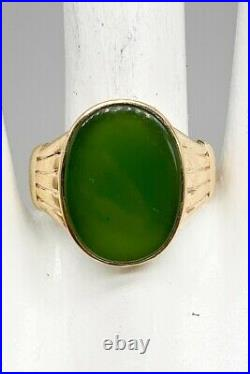 Antique Victorian 1890s $3000 12ct Natural Green Jade 10k Yellow Gold Mens Ring