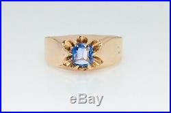 Antique Victorian $5000 1ct CERTIFIED NO HEAT Blue Sapphire 14k Gold Mens Ring