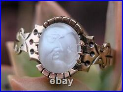 Antique Victorian Man In The Moon Moonstone 10k Gold Ring-1800's Estate Jewelry