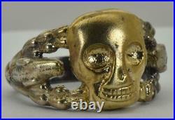 Antique Victorian Memento Mori Skull&Snakes vermeil Sterling silver mens ring