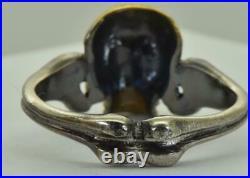 Antique Victorian Memento Mori Skull&bones vermeil silver mens ring