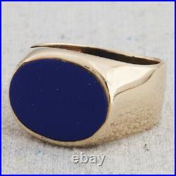 Antique Vintage 14k Yellow Gold Blue Lapis Lazuli Mens Signet Pinky Ring S-9.5