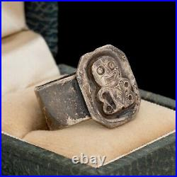 Antique Vintage Art Deco 925 Sterling Silver Figural Man Band Ring Sz 7.5 5.4g