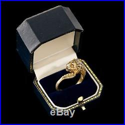 Antique Vintage Deco Gold Wash Sterling 800 Silver Mens Lion Band Ring Sz 13.5