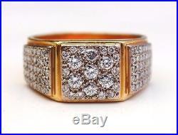 Antique Vintage Men Ring solid 18K Gold 1.71 ctw Diamonds Size US 11.5 / 25gr