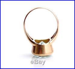 Antique Vintage Men Unisex Ring solid 18K Gold 8.5 ct Aquamarine Ø US9 / 9 gr