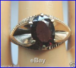 Antique Vintage Retro Men's Oval Garnet 14K Rose Gold Ring Size 8.5 UK-Q1/2