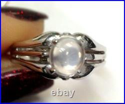 Art Deco Antique Solid 14K White Gold Men's Moonstone Ring Size 9.75