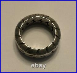Authentic Vintage Gucci Ring Sterling Sliver Ring Mens US 7.5 Rare Chain Link
