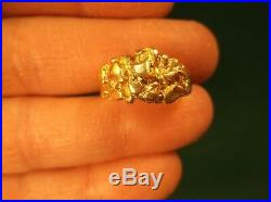 CUSTOM MADE OLD VTG 14K YELLOW GOLD NUGGET MENS (or UNISEX) RING, SIZE 7.5+/