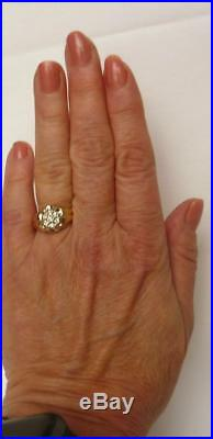 Classic Mens Vintage 14k Gold. 30Ct Diamond Cluster Pinky Ring Sz 7.25 QUALITY