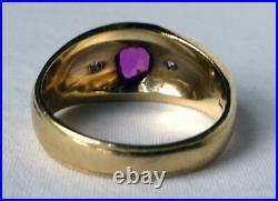 Classic Mens Vintage Art Deco 14k Gold Ruby+Diamond 3Stone Band Ring 9.3g Sz10.5