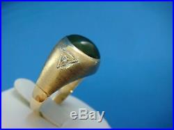 Classic Vintage Jade And 2 Diamonds 10k Yellow Gold Men`s Solid Back Ring