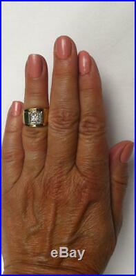 Classic Vintage Mens 14k Gold. 50 Ct European Diamond Solitaire Pinky Ring 7 gr