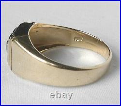 Classic Vintage Mens 14k Gold. 80 Ct European Diamond Solitaire Ring Sz 10.25