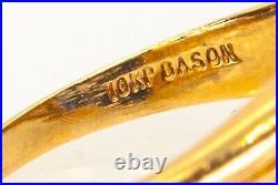 Dason Signed Antique 1950s BLUE MASONIC 10k Yellow Gold Mens Ring Band