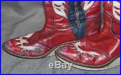 Dustin Rhodes Ring Worn Western Style Wrestling Boots Vintage Eagle Design AEW