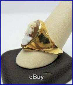ESTATE Vtg 14K Yellow Gold HERMES Winged Mercury CAMEO Ring Sz 11.5 MENS Unisex