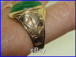 Elegant Vintage Heavy 14k Solid Gold Approx. 15 Ctw Chrysoprase Men's Ring