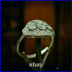 Engagement Ring 1Ct Round Cut Diamond Vintage Deco Ring 14K White In Gold Finish