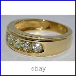 Engagement & Wedding Channel Set Men's Ring 14k Yellow Gold Plated 2.1ct Diamond