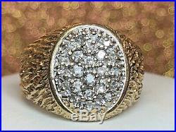 Estate Vintage 10k Yellow Gold Diamond Ring Men's Pave Set Textured Anniversary