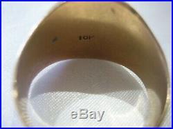 Estate Vintage 10k Yellow Gold Heavy Men's Signet Ring 13.7 Grams Size 10.5