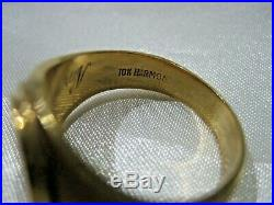 Estate Vintage 10k Yellow Gold Initial F Signet Heavy Men's Ring 9.9 Grams