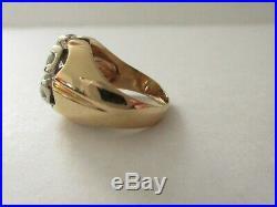 Estate Vintage 14K White Yellow Gold Mens / Ladies Cluster 2 CT Diamond Ring