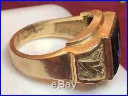 Estate Vintage 14k Gold Masonic Ring Black Onyx Blue Enamel Men's