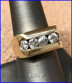 Estate Vintage 14k Yellow Gold Channel Set 2.00tcw Diamond Men's Ring