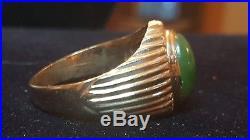 Estate Vintage 14k Yellow Gold Genuine Green Jade Jadeite Men's Ring Gemstone